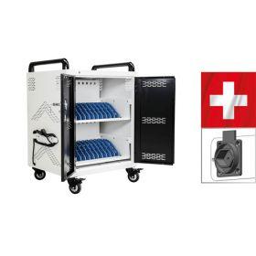 Laptopladewagen Safecart 24 KOMPAKT mit Typ-13-Steckdosen für die Schweiz